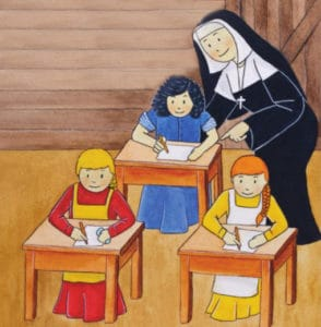 An illustration of Saint Mother Theodore Guerin overseeing three young students from the Academy a their desks.