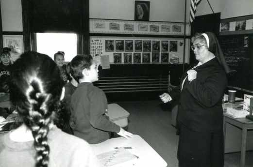 Sister Brigid Mary Hurley (RIP) instructing her students at Cheverus School in Malden, Massachusetts, in 1993.