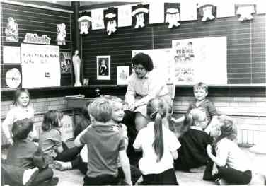 Sister Jane Iannaccone instructing her students at Ascension School in Evansville, Indiana, in 1987.