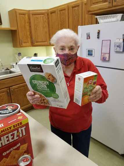 Sister Mary Ann Phelan choosing a snack, one of the hobbies still allowed during the months-long quarintine.