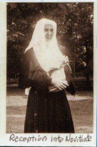 Sister Gloria (Cecelia) in her white novitiate habit.