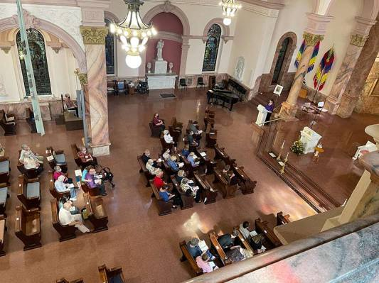 View of participants in the church from above