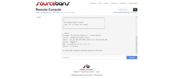 SourceBans admin console
