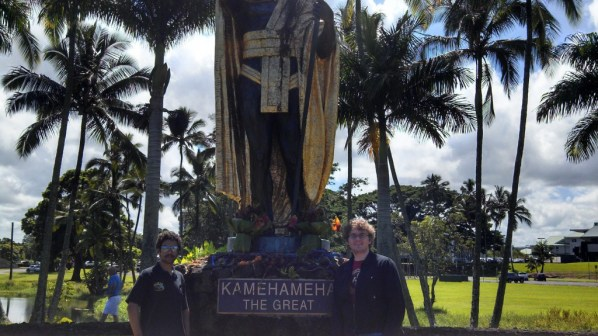 The famous statue of King Kamehameha. Picture by a woman who snapped her own forehead in every other shot.