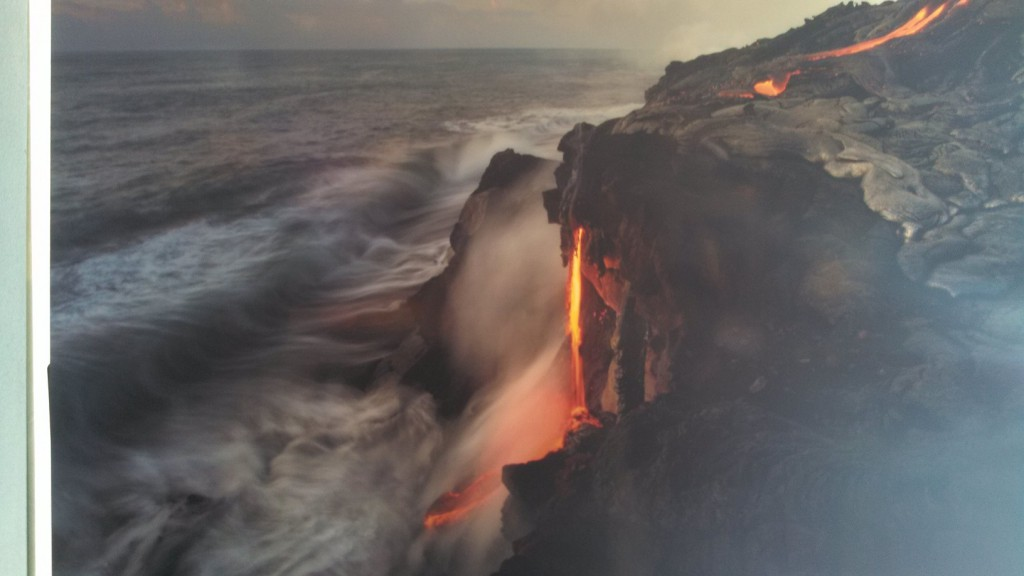 People come far and wide to see this picture of a picture of a lava flow. The real one was closed, thanks Obama!