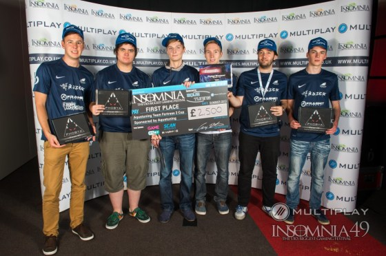 Epsilon eSports, the winning team of i49. From left to right: GeaR, numlocked, basH., schocky, KnoxXx, Mike.