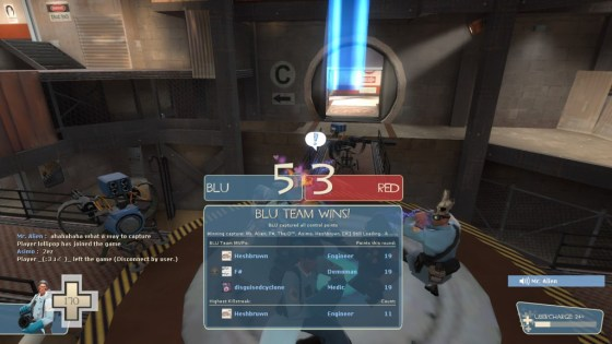 Teamwork: Winning by Kazotsky kicking on the point with level 3 sentries protecting you.