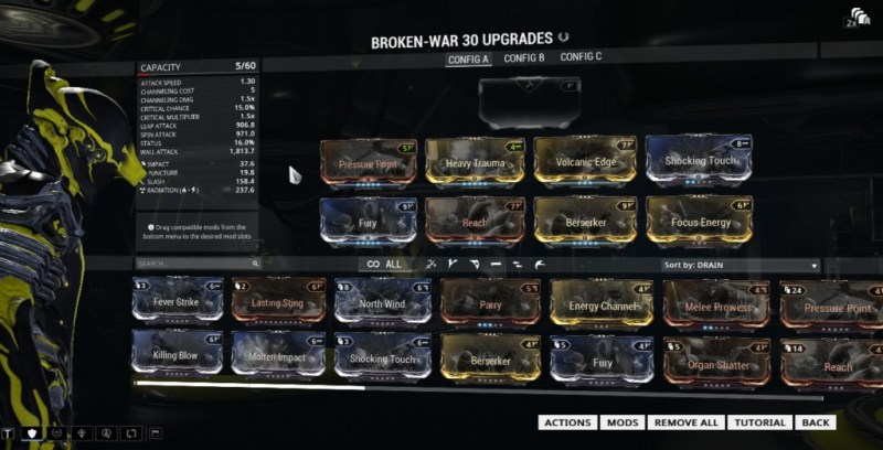 Broken War has more slots on it, because it has a Catalyst installed.
