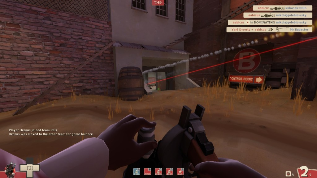 Due to TF2 having crosshairs, the Wrangler's laser sight is more of a downside than an upside, though it does help alert the engy when he's actually firing his sentry into a corner.