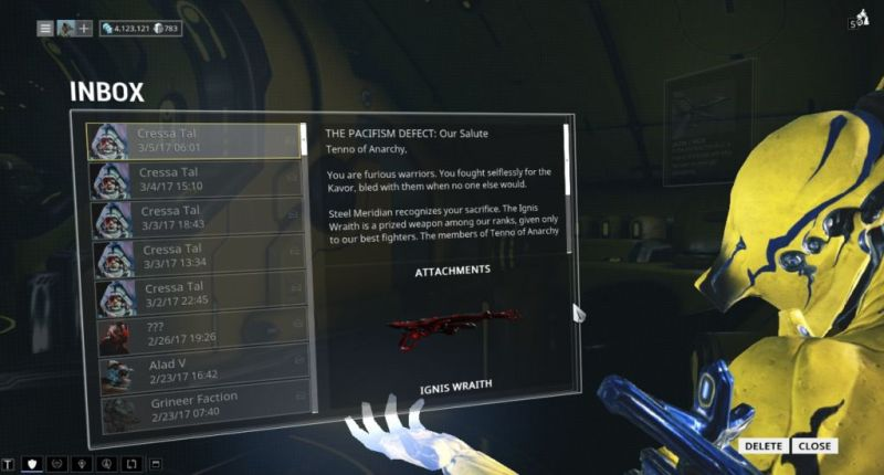 And here I was, worried I wouldn't get my Ignis Wraith blueprint, there's one delivered to my inbox.