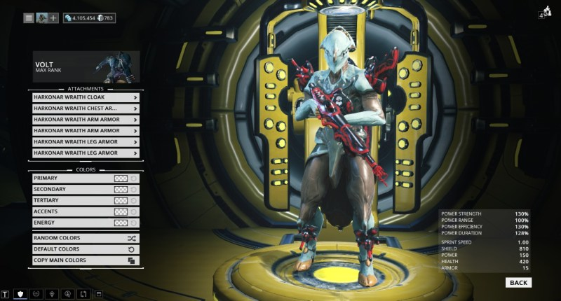 You're supposed to use Excalibur to show off cosmetics but I don't have Excalibur. Pictured are the Ignis Wraith and full Harkonar Wraith set. None of this can be recoloured.