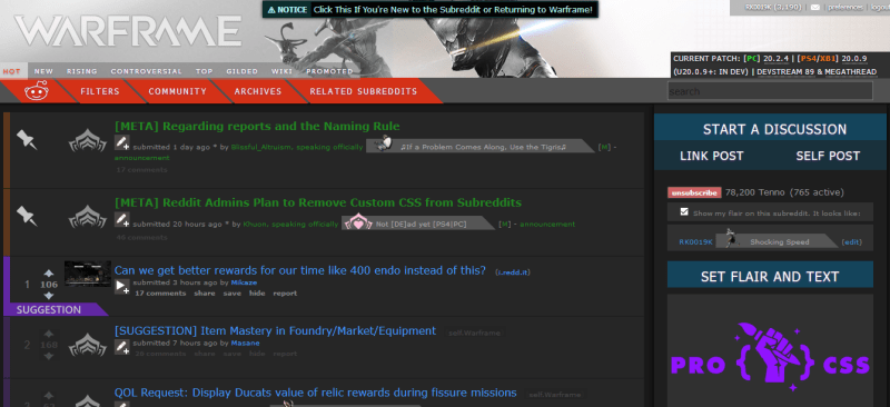 r/warframe isn't that special, but it's a nice-looking subreddit with both a night theme and a day theme.