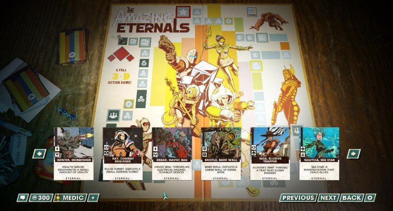 These are all the characters currently available in The Amazing Eternals