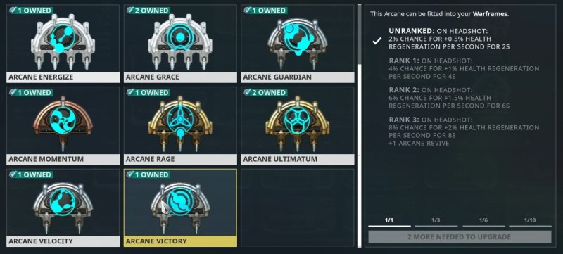 Image result for Arcanes in Warframe rank