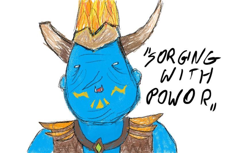 "Grohk from Paladins ""Sorging with powor"""