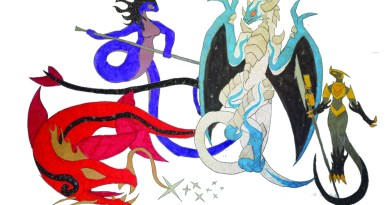 From left to right: Epani, Goddess of Space; Yisini, Goddess of Love, Life and Pleasure; Kairos, Dragon God of Time; Arkadin, God of Entropy.