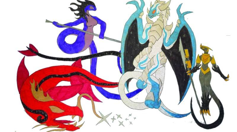 From left to right: Epani, Goddess of Space; Yisini, Goddess of Love, Life and Pleasure; Kairos, Dragon God of Time; Arkadin, God of Entropy.