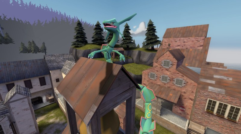 Rayquaza on a tower