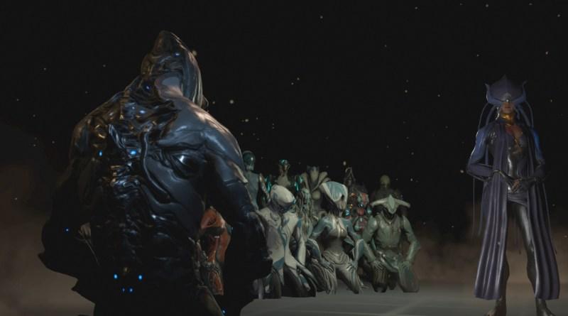Excalibur and Warframes speak to Lotus at Tennocon