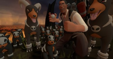Medic surrounded by Houndooms and Houndours