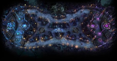 The Twisted Treeline map from above, courtesy of the League of Legends Wikia/Fandom site