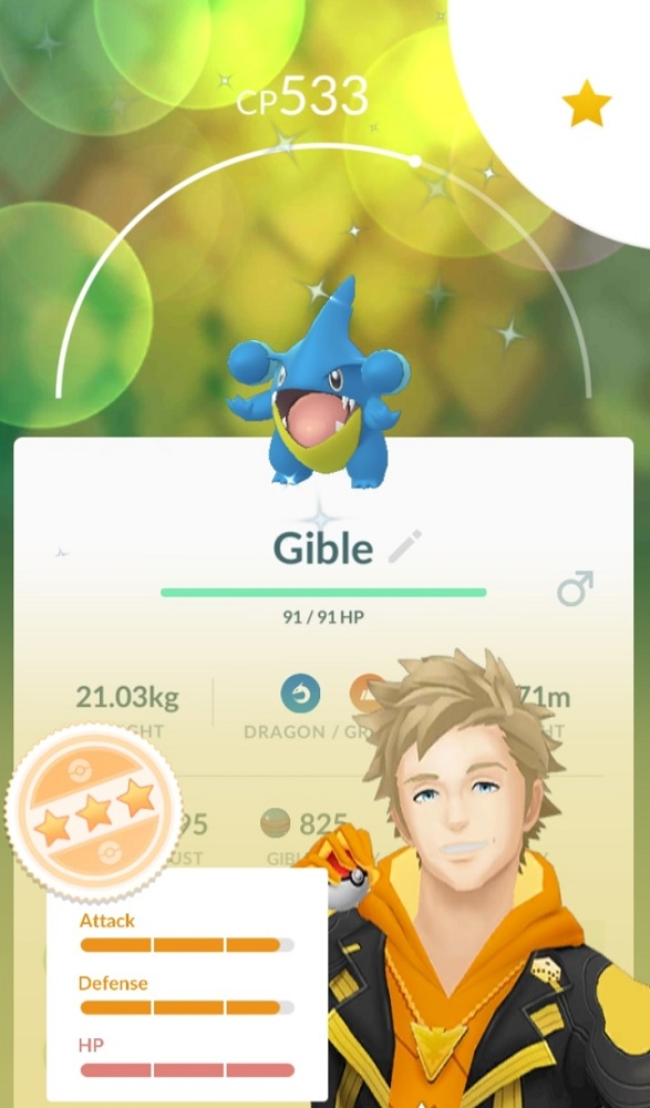 My best catch of the day, a wild shiny Gible with 96% IVs