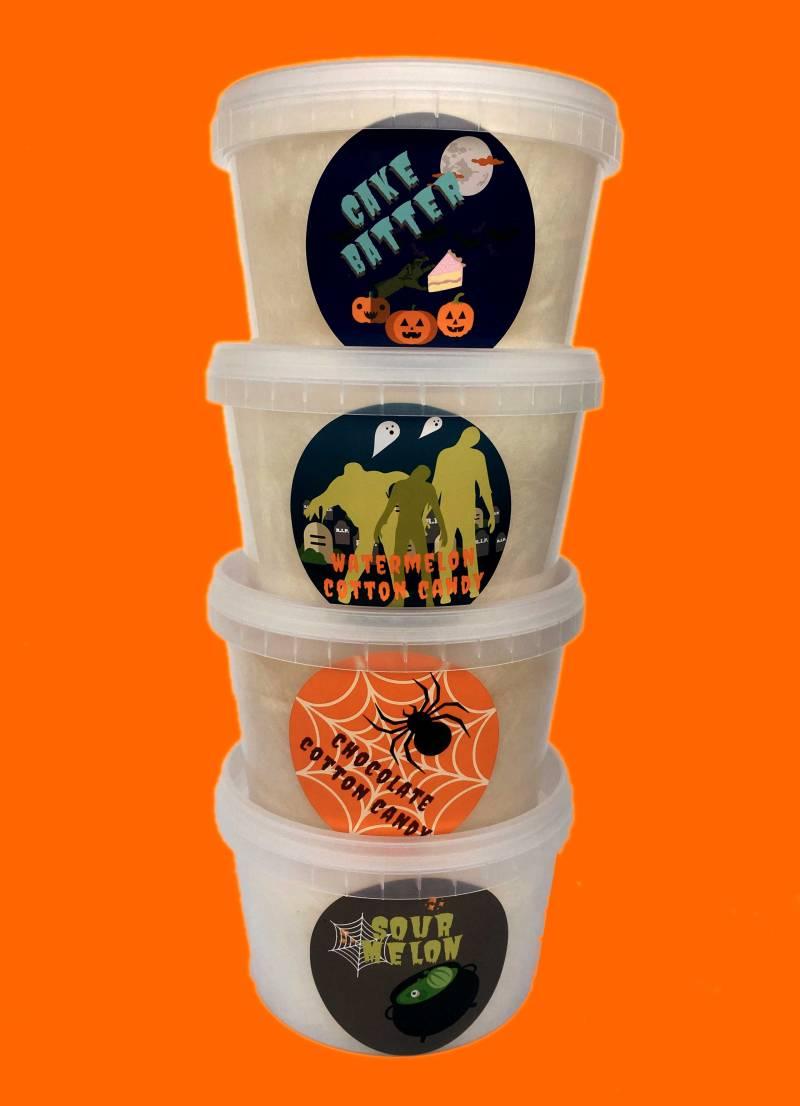 4 tubs in the halloween sampler