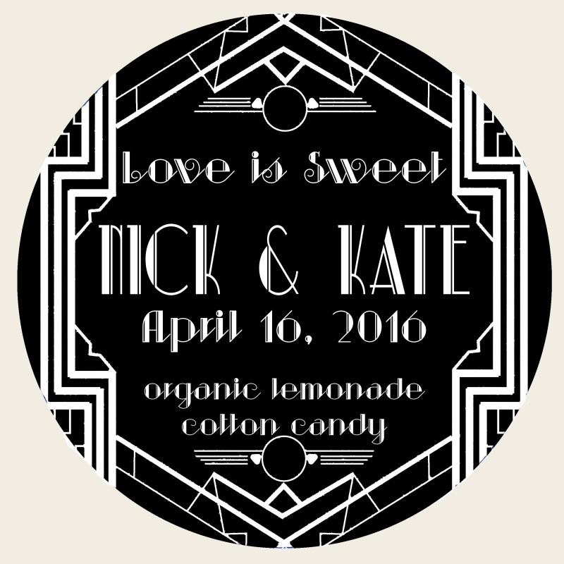art deco label with black background