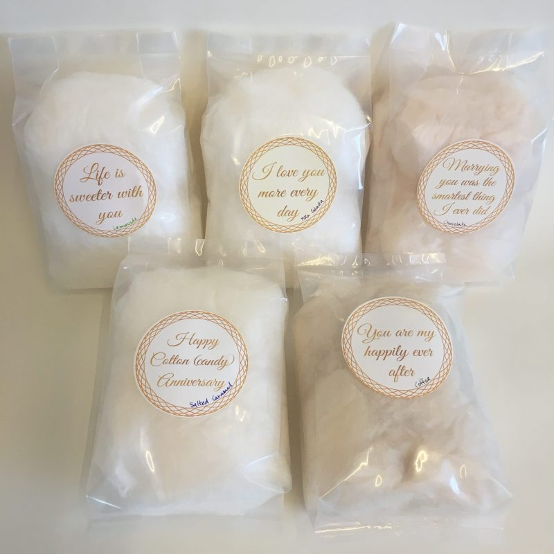 cotton candy bags with tan shades on their labels