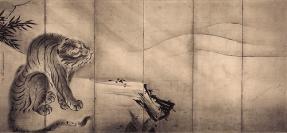 Drago e Tigri, doppio paravento a sei ante, inchiostro su carta