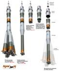 Secciones del cohete Soyuz-FG (Vadim Lukashevich/Buran.ru)