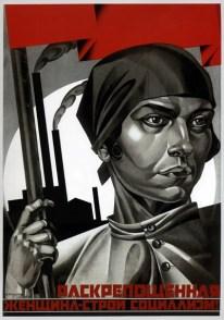 «Emancipación de la mujer — contrucción del socialismo» Afiche de 1926 por Adolf Iosífovich Strájov-Braslavski.