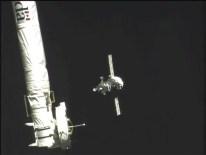 Nave Soyuz TMA-16M vista desde la EEI aproximándose. Foto: NASA TV.