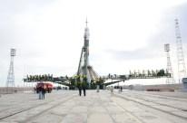 2 de septiembre de 2015: La navea Soyuz TMA-18M preparada para su lanzamiento en la plataforma de lanzamiento 1 de Baikonur, Kazajstán. Crédito de la imagen: S.P. Korolev/RSC Energia.