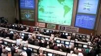 23 de Marzo de 1991: Especialistas del Centro de Control de Misión en Moscú ponen en marcha el programa de re-entrada de la Estación Espacial MIR para su destrucción en la atmósfera por encima del Océano Pacífico Sur. Foto: © RIA NOVOSTI.