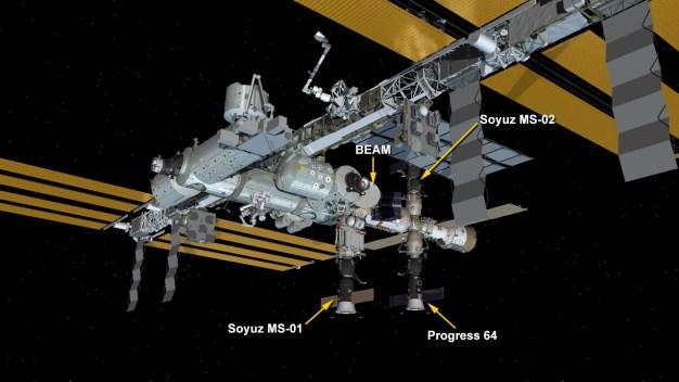 Situación de la Soyuz MS-02 en la EEI. Ilustración: NASA.