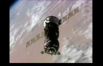 Soyuz MS-02 maniobras de acoplamiento. Foto: NASA TV.