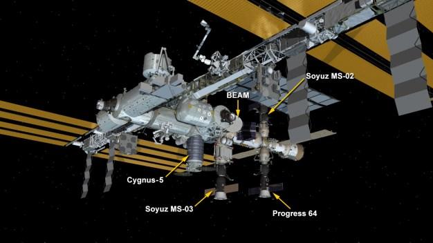 Situación de la Soyuz MS-03 en la EEI. Ilustración: NASA.