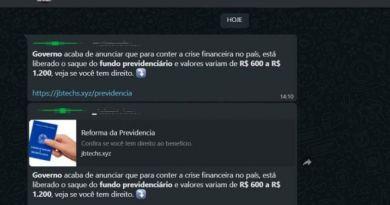 Golpe repassado por WhatsApp promete pagamento de fundo previdenciário