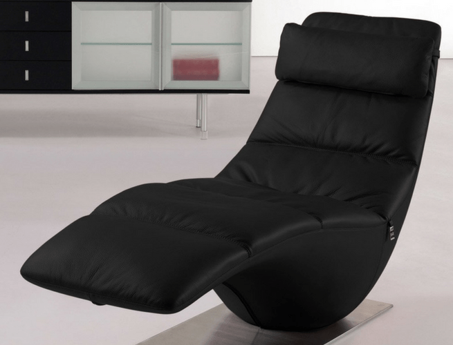 zola s black leather chaise lounge