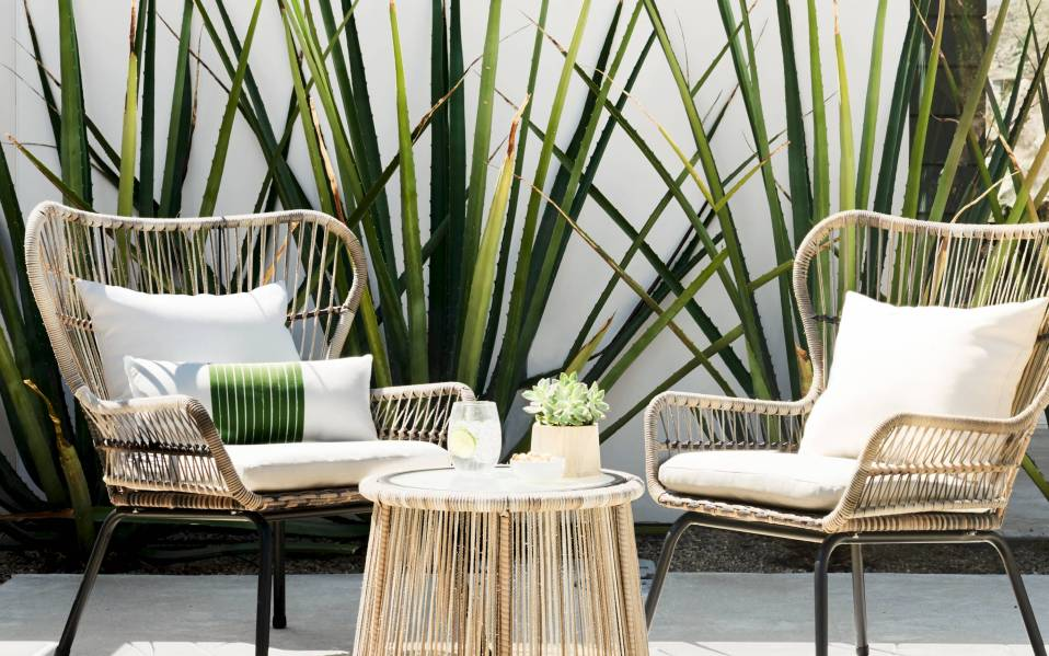 lounge in luxury with a wicker patio set