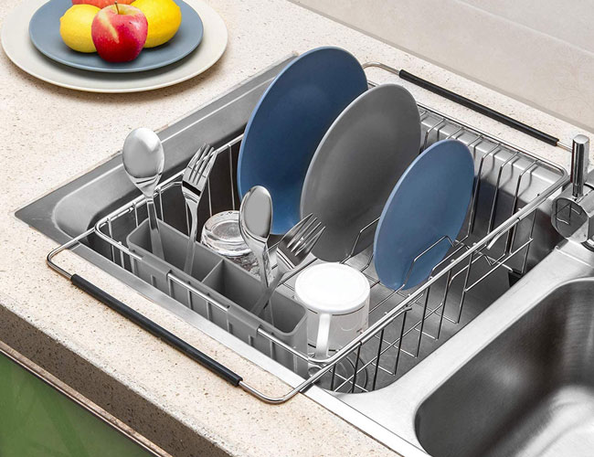 these over the sink dish drying racks eliminate the need for the sink side balancing act