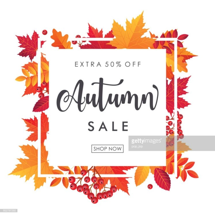 Autumn Leaves Sale Square Frame. Vector illustration template