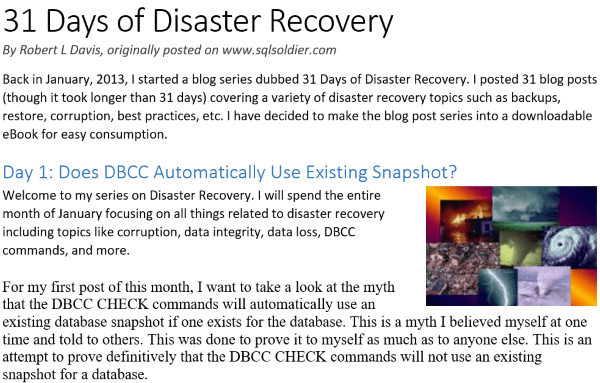 31 Days of Disaster Recovery eBook