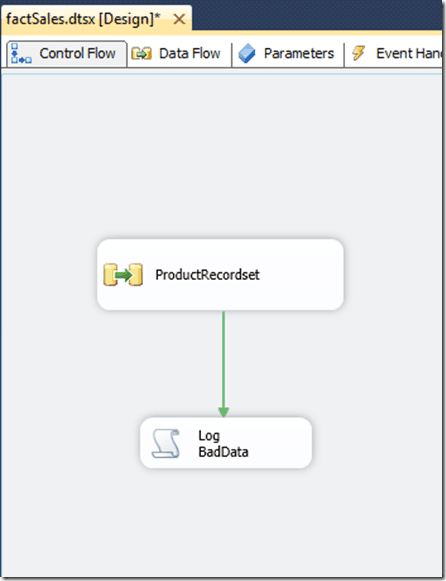 an SSIS variable that contains the bad data