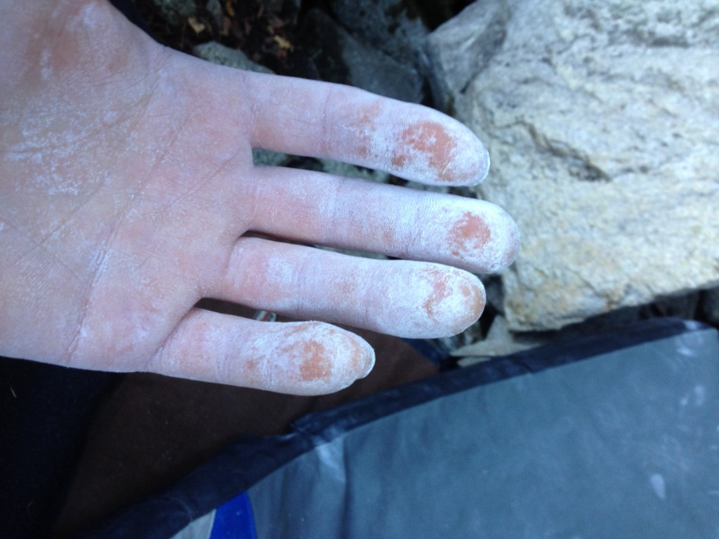 Granite slopers and sweaty tips, they just don't mix.