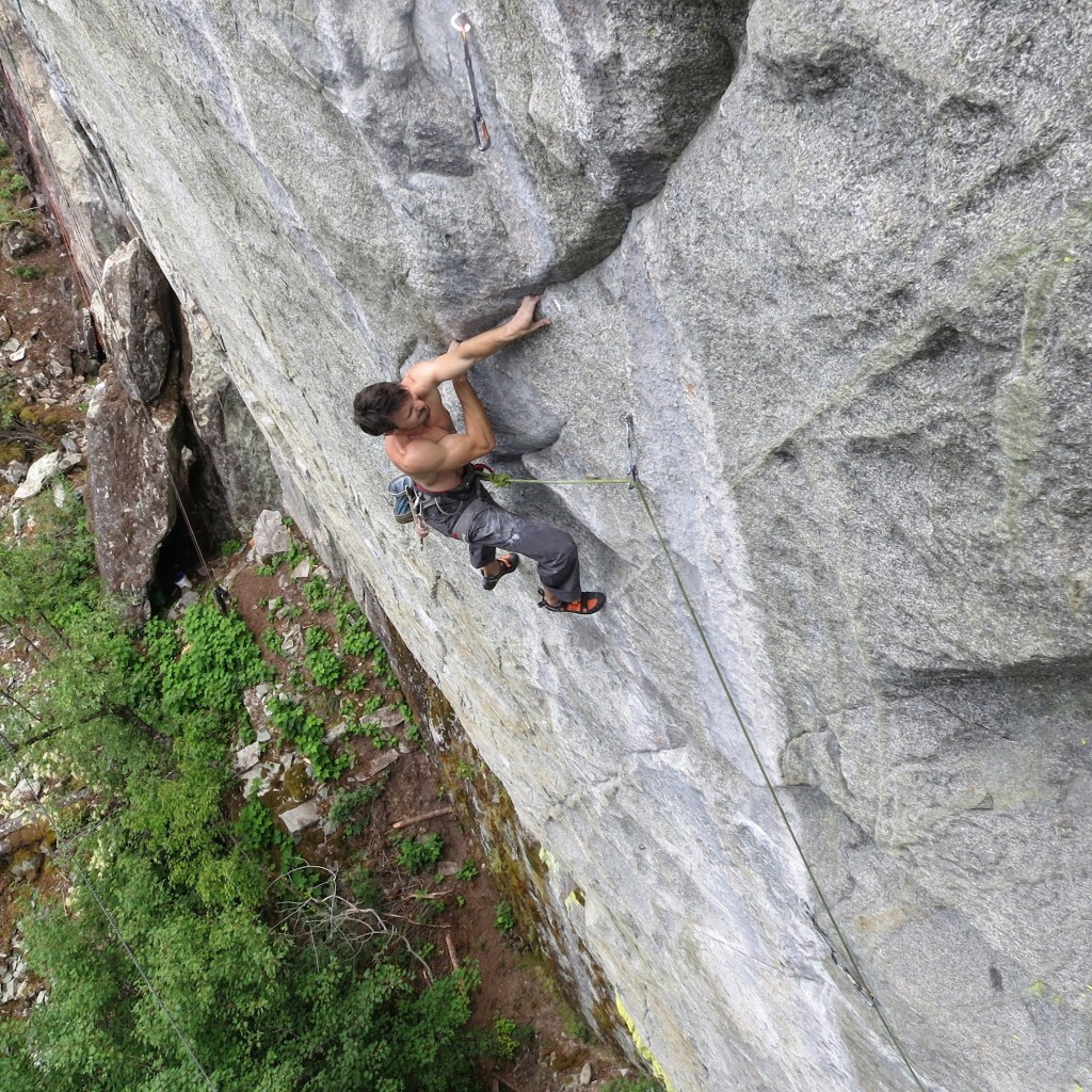 Tom Wright on the FA of Sprit of The West (5.14a) - Paradise Valley, Squamish - Photo Vikki Weldon