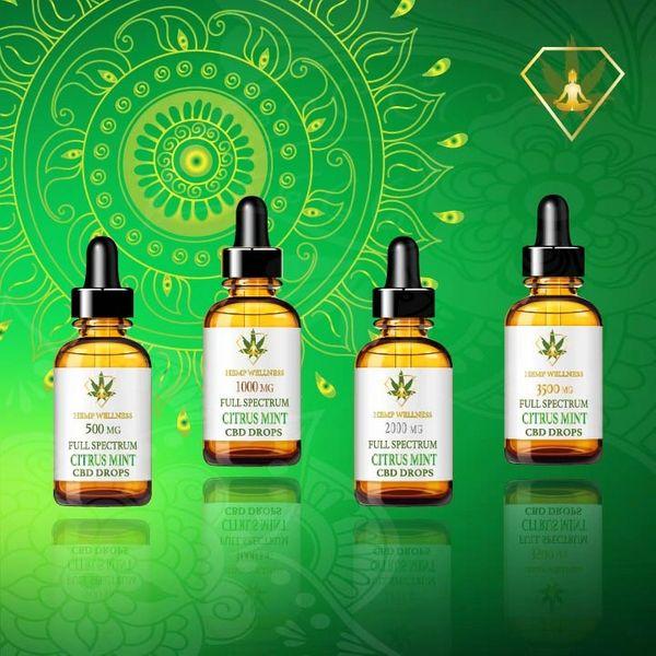 Hempwellness Citrus Mint CBD Oil Full Spectrum Tincture
