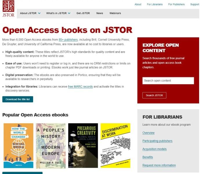 JSTOR open access books