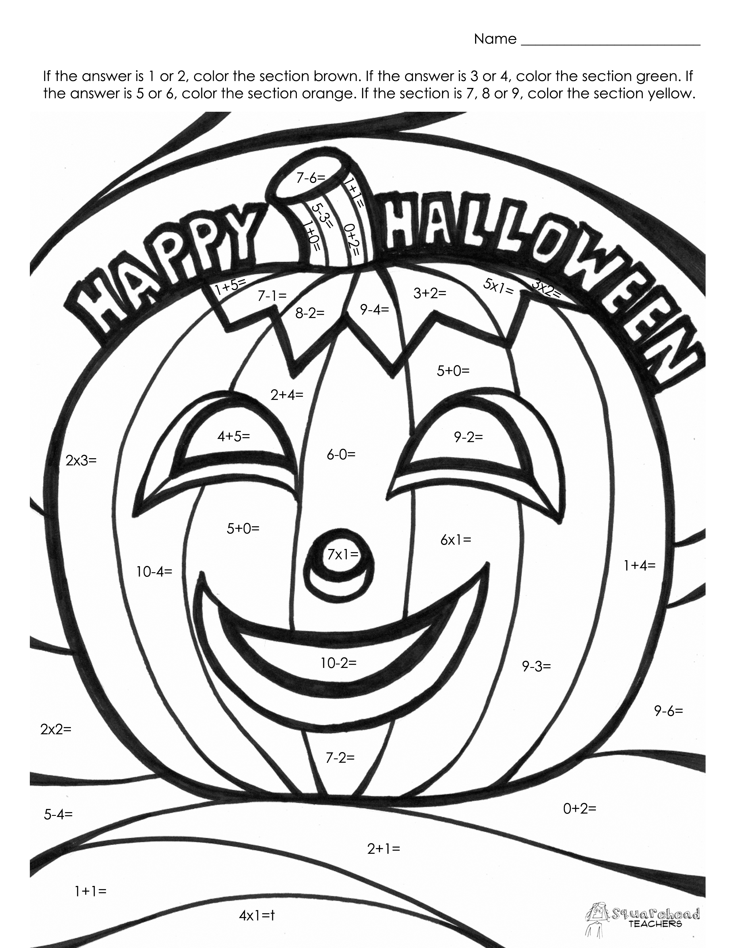 Halloween Math Fact Coloring Page